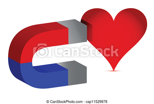 magnet and heart illustration - csp11529978