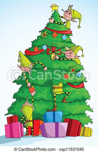 elf decorating christmas tree csp11531045