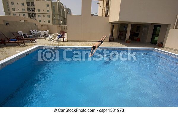 Picture Of Man Swim In Swimming Pool At Roof Of Apartment Bahrain Csp11531973 Search Stock