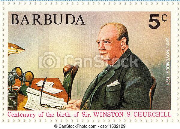 BARBUDA ? CIRCA 1974 :Winston Churchill - great UK politic - csp11532129