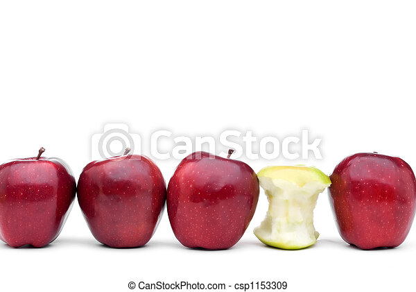 Red delicious apples with an individual green eaten apple - csp1153309