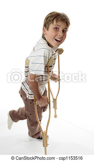 Smiling boy on crutches - csp1153516