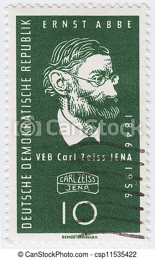 USA - CIRCA 1956 : stamp printed in USA stamp printed in USA shows Carl Zeiss German maker of optical instruments and founder Carl Zeiss Jena, circa 1956