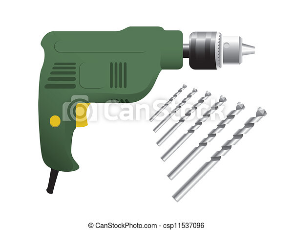 the electric drill on white background - csp11537096