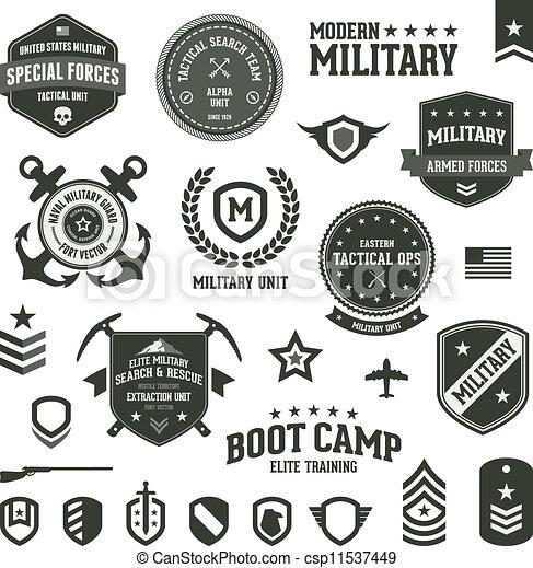 軍, バッジ - csp11537449