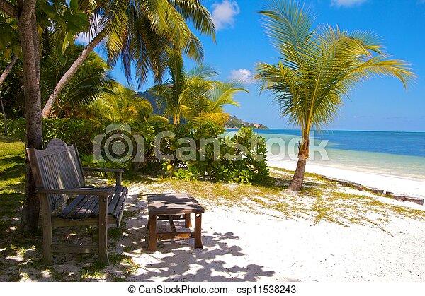 bois, banc, et, repose-pied, à, les, blanc, sables, plage, de, les, Indien,  océan,  Praslin, île,  Seychelles - csp11538243