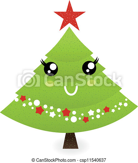 Vectors of cute christmas tree character isolated on white for Cute tree drawing