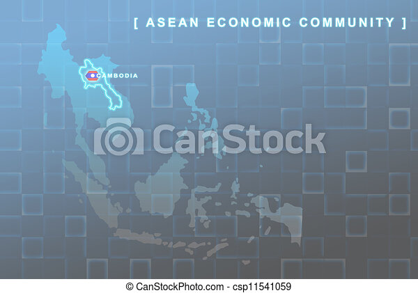 Laos country that will be member of AEC map - csp11541059