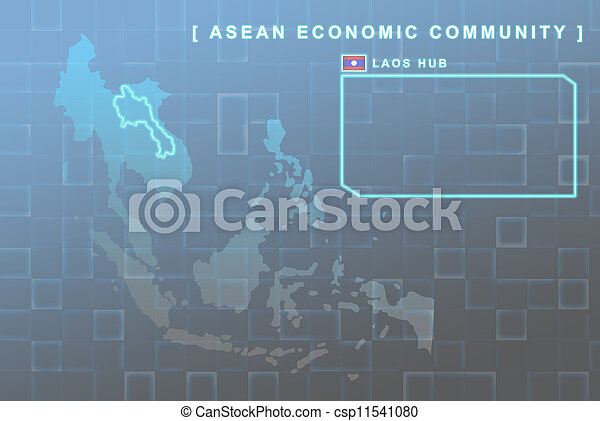 Laos country that will be member of AEC map - csp11541080