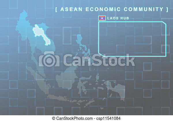 Laos country that will be member of AEC map - csp11541084
