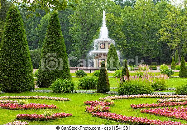Peterhof Palace. Roman fountain of the Lower Park in the rain - csp11541381