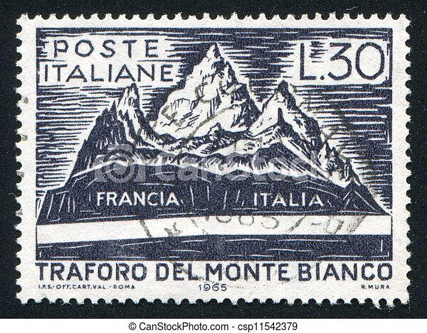 image de tunnel mont blanc italie environ 1965 timbre csp11542379 recherchez. Black Bedroom Furniture Sets. Home Design Ideas