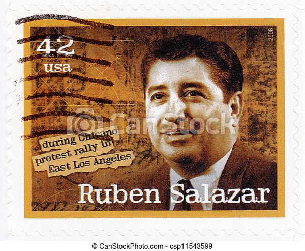 USA - CIRCA 2008: stamp printed in the USA shows Ruben Salazar Mexican-American journalist, circa 2008