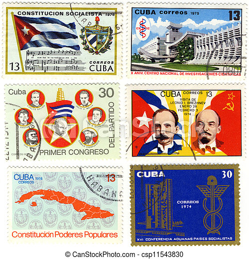 old stamps of Cuba with politics theme - csp11543830