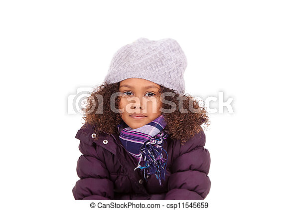 Little african asian girl wearing winter clothes - csp11545659