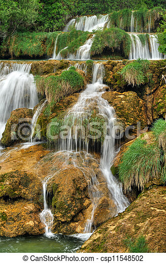 Krka river waterfalls in the Krka National Park, Roski Slap, Croatia - csp11548502