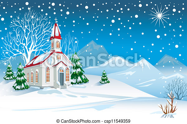 Winter landscape with church - csp11549359