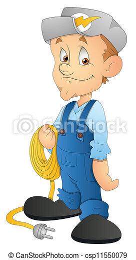 Cartoon Electrician Character - csp11550079