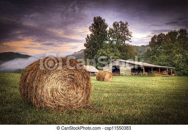 Rural American Farm at Sunset - csp11550383