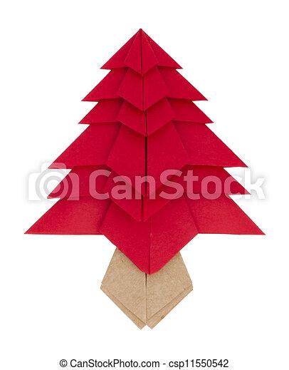Dessin de arbre vert fait papier arbre origami no l rouges csp11550542 recherchez - Arbre de noel origami ...