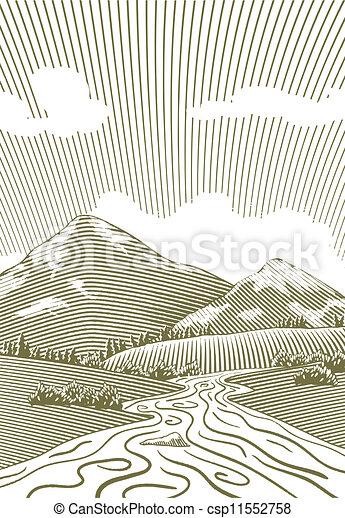Woodcut Mountain Stream - csp11552758