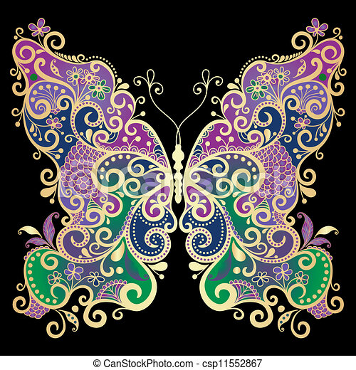 Fantasy gold-colorful butterfly  - csp11552867