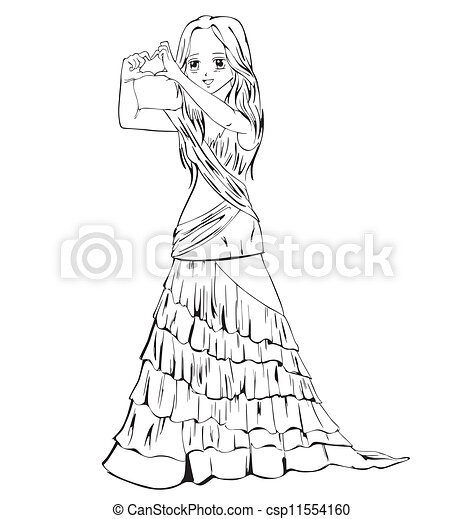 Anime Girl in a Formal Dress Drawing Elegant Anime Girl in Evening