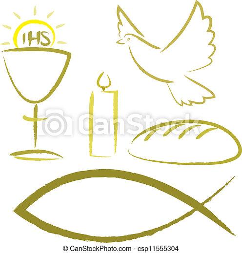 Vector Clip Art de símbolos, religioso, -, santo, comunión ...