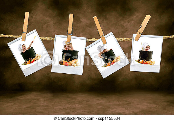 Chef Babies on Polaroid Film Hanging in a Dark Room - csp1155534