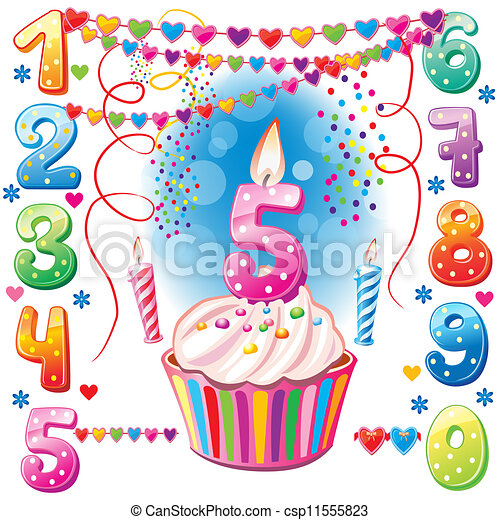Numbered birthday candles and cake  - csp11555823