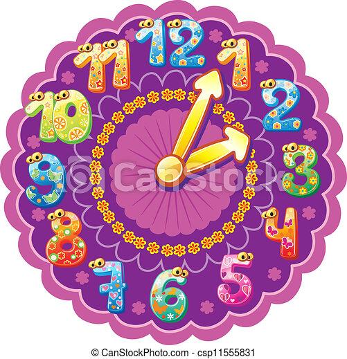 Vettori di DIVERTENTE, orologio, bambinicsp11555831 ... Colorful Clock Clip Art