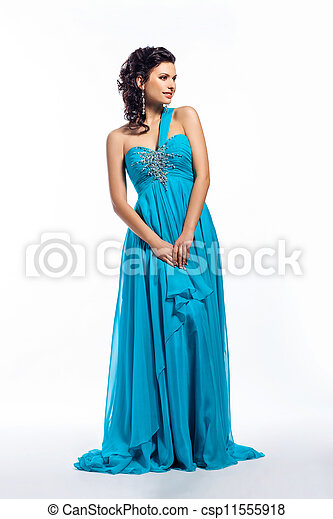 Fashion woman in modern fashion long blue dress posing - csp11555918