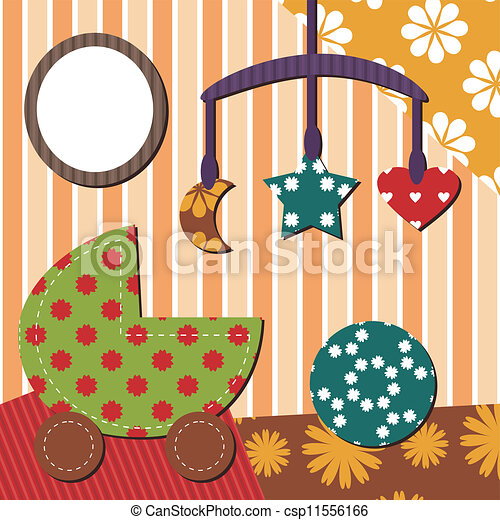 Clip Art Vector of baby room scrapbook style with different ...