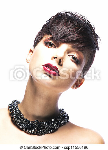 Portrait of glamorous young woman - stylish fashion model - csp11556196