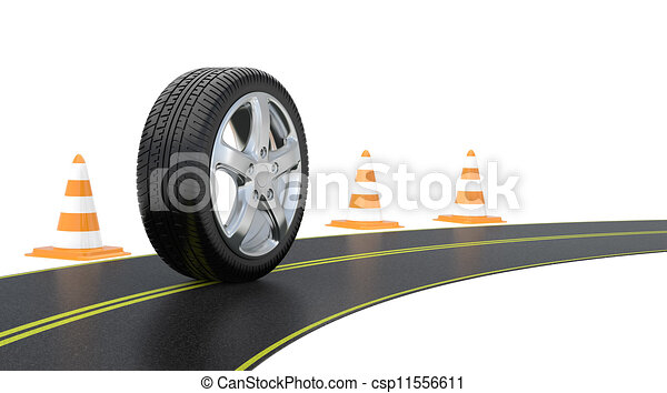 automobile tire, road cone, and long road - csp11556611