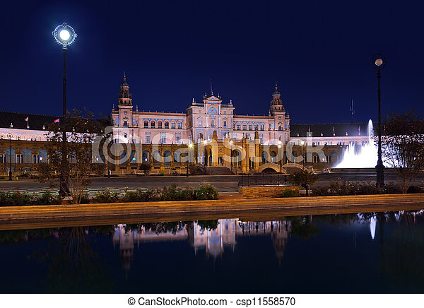 Palace at Spanish Square in Sevilla Spain - csp11558570