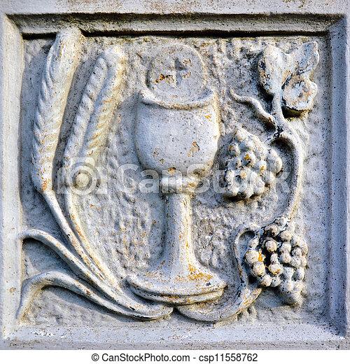 Religion scene with chalice - csp11558762