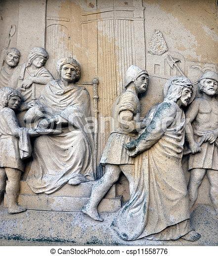 Religion scene Jesus Christ and last judgment - csp11558776