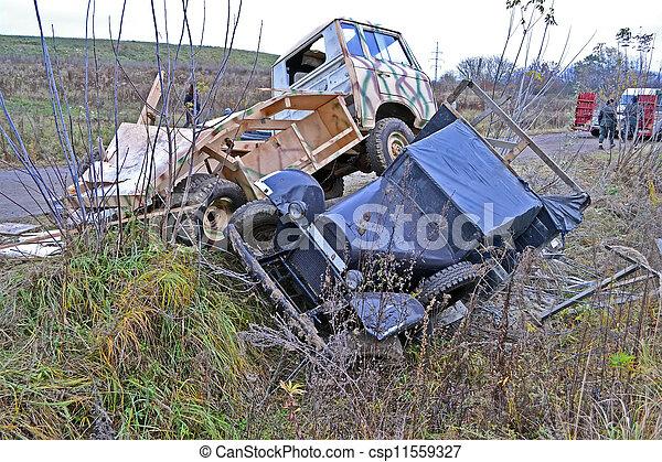 few cars crash on the road, stress transportation - csp11559327