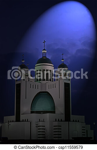 magic light over orthodox church with few golden cupola in the night, religion details - csp11559579