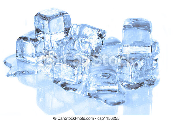 Cool Ice Cubes Melting on a Reflective Surface - csp1156255