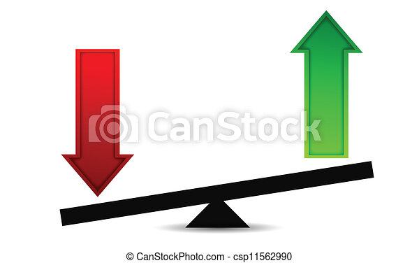 balance, flecha, ganancias, pérdidas - csp11562990