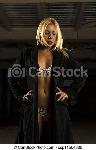 portrait of beautiful young woman in lingerie and coat - csp11564388