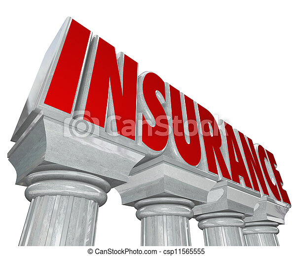 Insurance Word Marble Columns Safey Security Protection - csp11565555