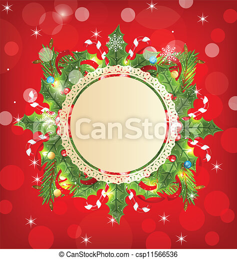 Christmas holiday decoration with greeting card - csp11566536