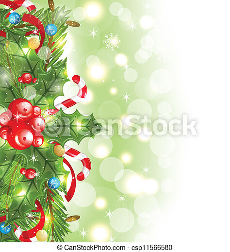 Christmas glowing background with holiday decoration - csp11566580