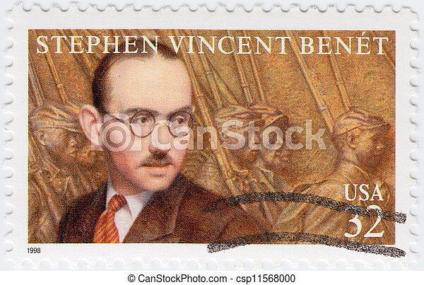 USA - CIRCA 1998 : stamp printed in USA shows Stephen Vincent Benet American author, poet, short story writer, and novelist, circa 1998