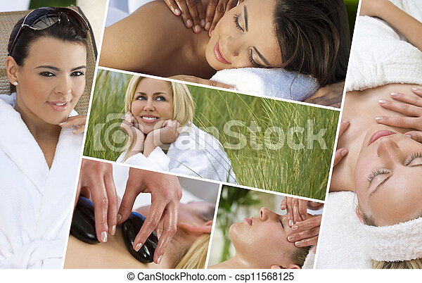 Montage of Beautiful Women Relaxing At Spa - csp11568125