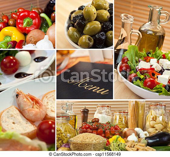 Healthy Italian Mediterranean Food Menu Montage - csp11568149
