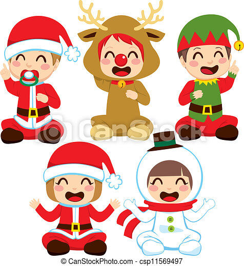 Eps vectors of christmas baby costumes little babies dressed in